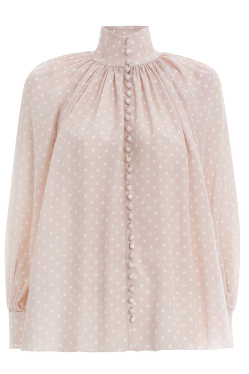 Glassy Swing Blouse in Ballet/Pearl Dot