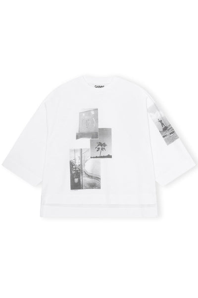 Basic Cotton Jersey Tee with Pictures in Bright White