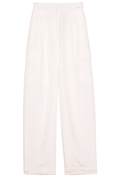 Crispy Nylon Pleated Cargo Pant in White