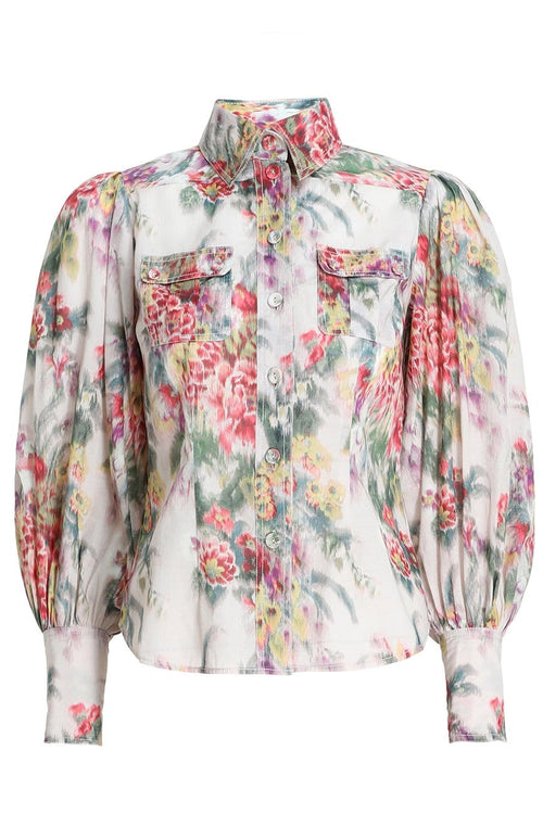 Wavelength Billow Sleeve Shirt in Pink Scarlet Floral