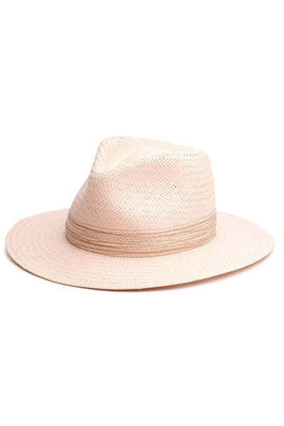 Packable Straw Fedora in Blush