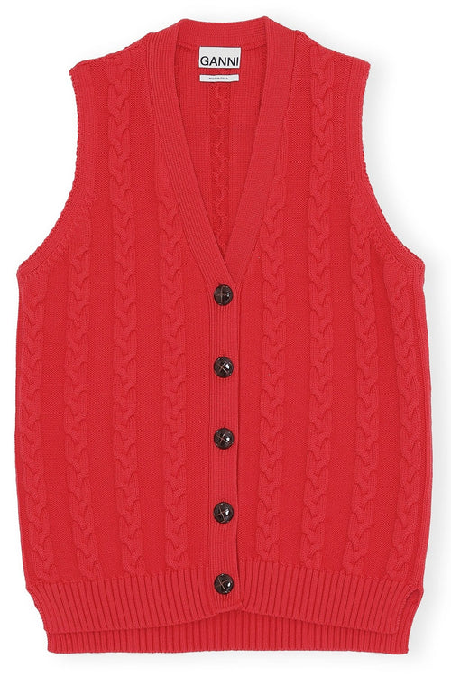 Cotton Knit Vest in Lollipop