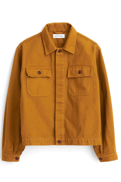 Washed Denim Work Jacket in Golden Khaki