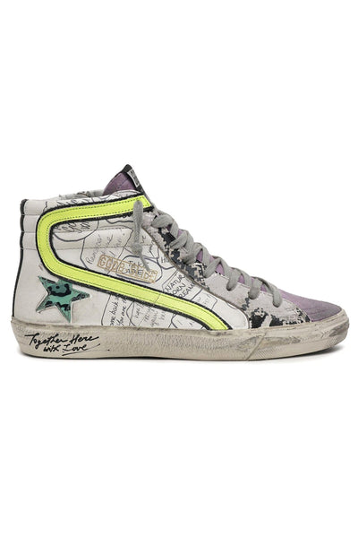 Slide Sneaker in White/Pink/Grey Python/Azure Leo/Yellow Fluo