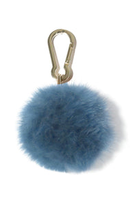 Fox Pompom Keychain in Blue Mirage