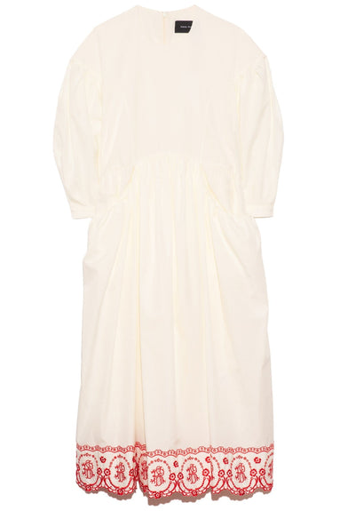 Drop Pocket Smock Dress in Cream/Red