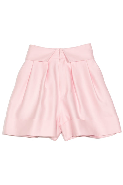 Pleated Cuffed Shorts in Pink