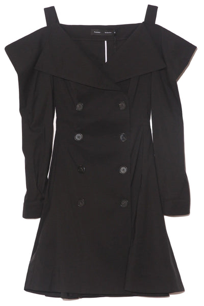Parachute Suiting Trench Dress in Black