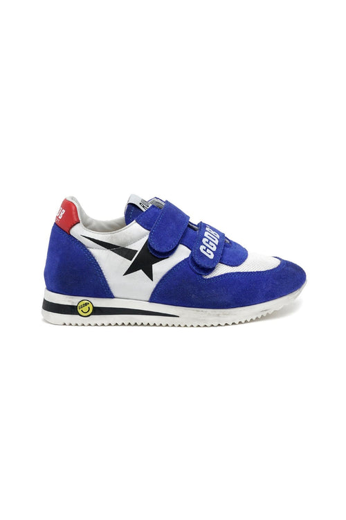 Kids Running Sneaker in White/Bluette/Black