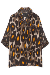 Pajama Top in Grey/Orange Leopard