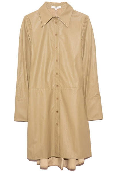 Tissue Faux Leather Shirt Dress in Light Loden