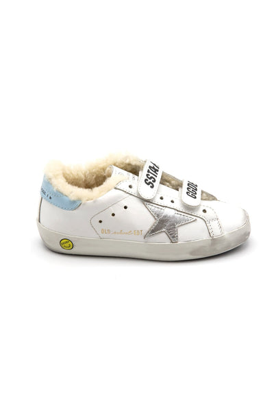 Kids Old School Sneaker in White/Silver/Blue