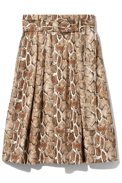 Faux Stretch Snakeprint Belted Midi Skirt in Maple Multi