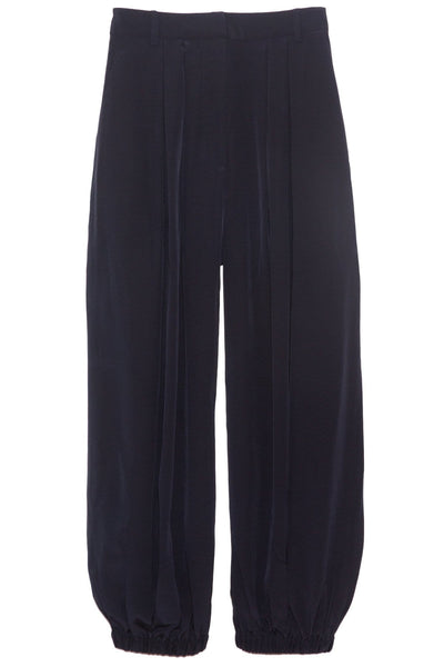 Eco Silk Pleated Balloon Pant in Navy