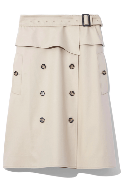 Structured Cotton Trench Skirt in Khaki