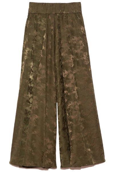 Wide Leg Jacquard Pants in Military Green
