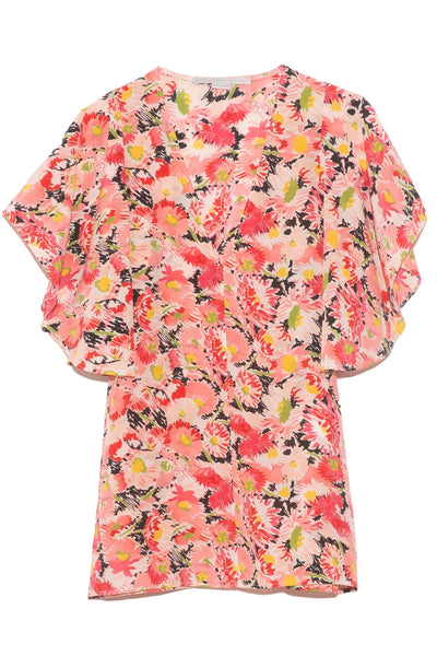 Mallory Watercolor Top in Floral Silk Print