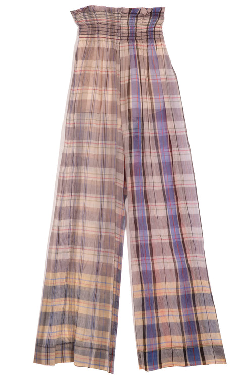 Tartan Organza Silk Pants in Cielo