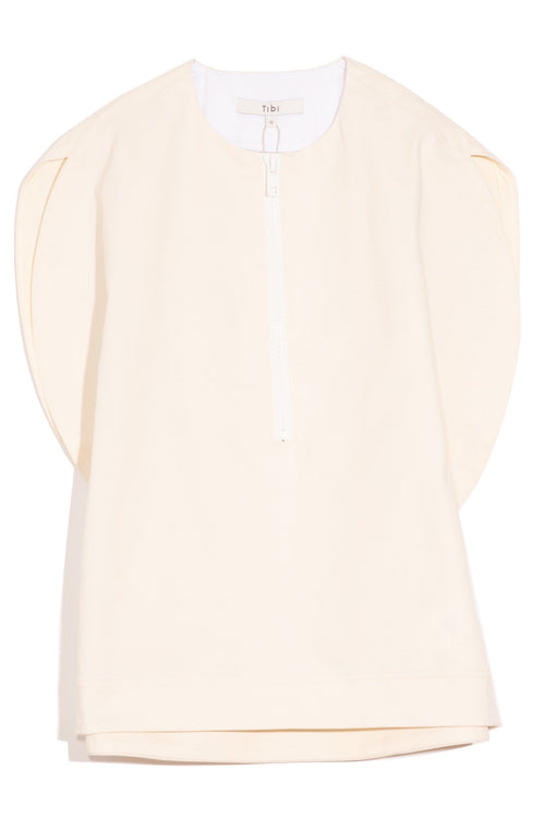 Myriam Twill Balloon Origami Top in Ivory