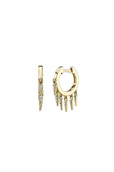 Small Pave Fringe Huggie Hoops in Yellow Gold