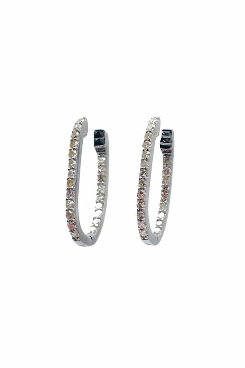 Pave Oval Huggies in Oxidized Silver