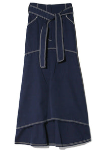 Contrast Stitch Skirt in Indigo