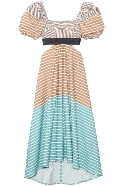 Blaine Dress in Rust Brown Stripe