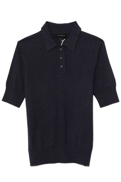 Cotton Cashmere Polo in Navy