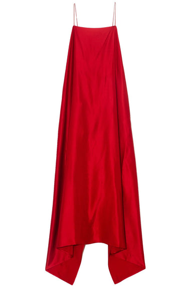 Meredith Silk Satin Dress in Ruby Red