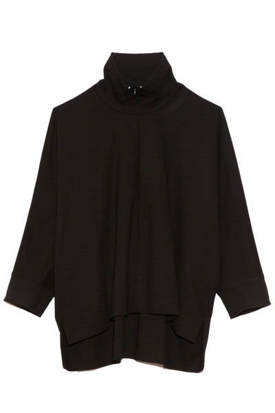 Zip Up Polo Caftan Top in Black