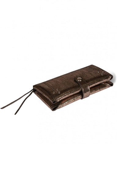 Porte Mobile Wallet in Lame Champagne Goatskin