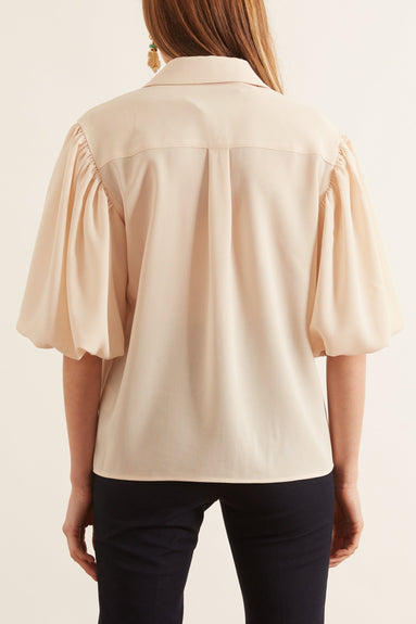 Louise Short Sleeve Top in Cream