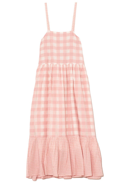 Vichy Midi Dress in Baby Pink