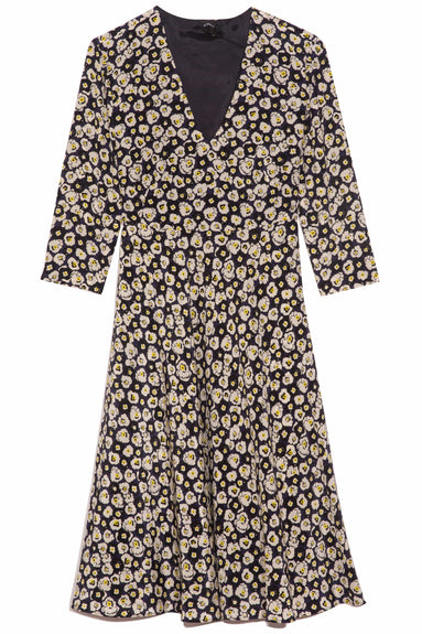 V-Neck 3/4 Sleeve Dress in Navy Floral