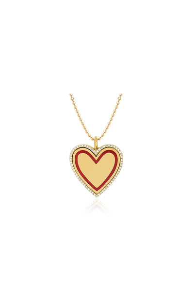 Diamond and Red Enamel Heart Necklace