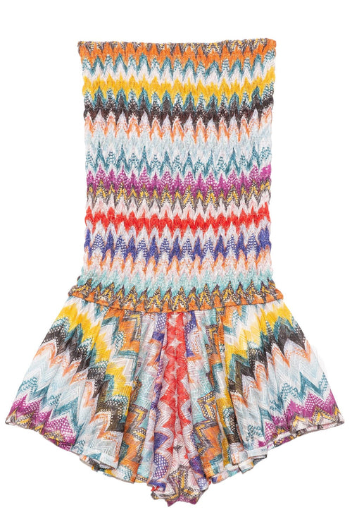 Short Strapless Romper in Multi