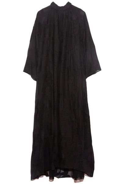 Lana Fil Coupe Shirred Neck Maxi Dress in Black