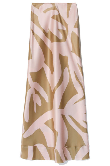 Bella Silk Satin Skirt in Corn Print Pink