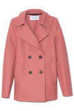 Pressed Wool Peacoat in Dusty Rose
