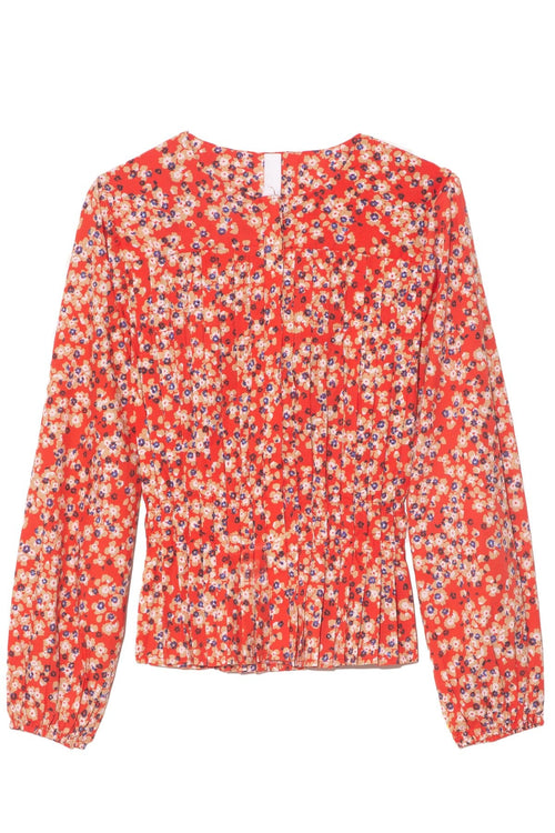 Dorset Blouse in Red/Sand Print