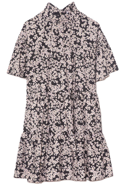 Astell Dress in Black/Lavender Print