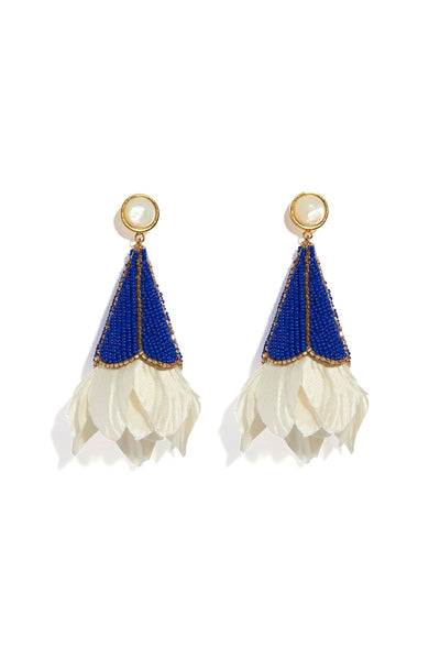 Gilded Floral Earrings in Cobalt
