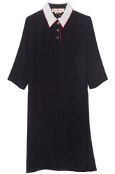 Polo Neck Contrast Collar Dress in Navy