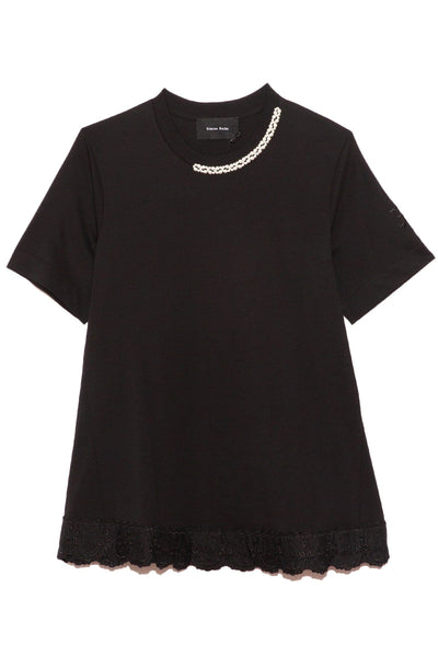 Embellished A-Line Emblem Boy Tee in Black