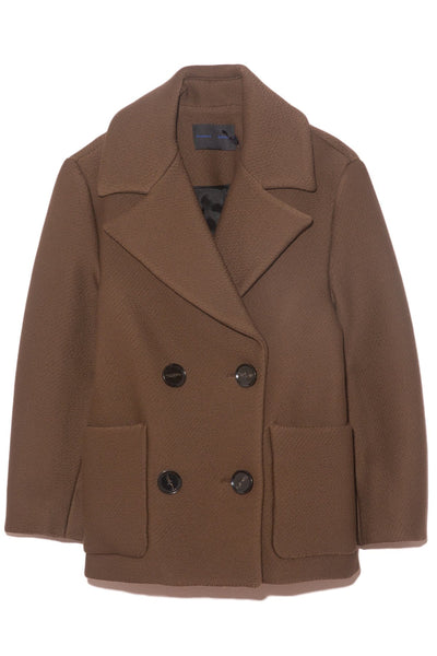 Technical Twill Coating Double Breasted Coat in Dark Brown