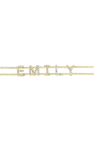 Diamond Custom Name Bracelet in Yellow Gold