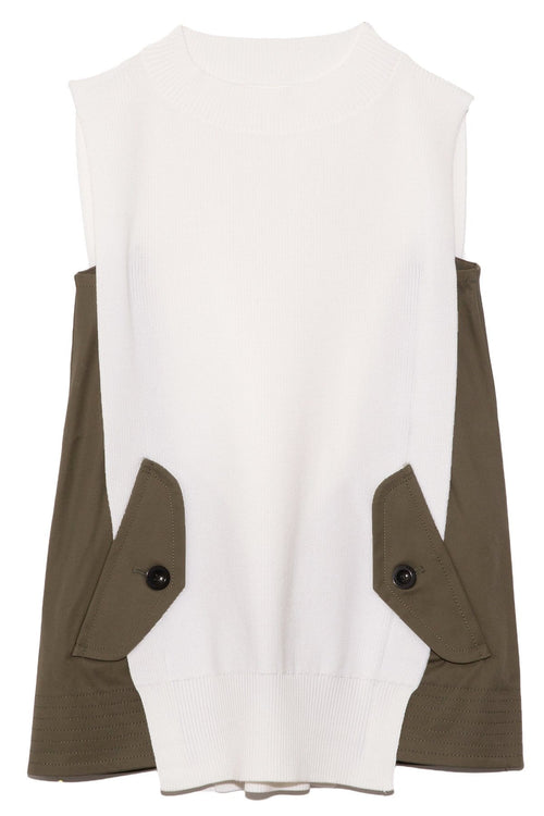Cotton Gabardine Knit Pullover in Off White/Khaki