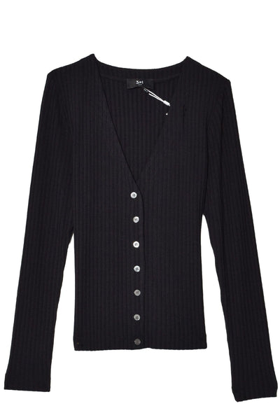 V-Neck Cardigan in Black
