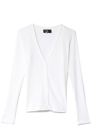 V-Neck Cardigan in White