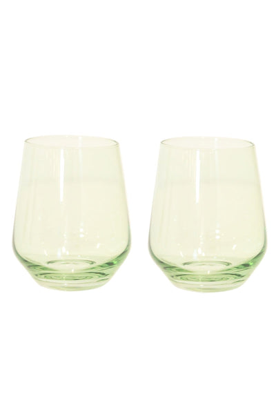 Colored Stemless Wine Glasses in Mint Green - Set of 2